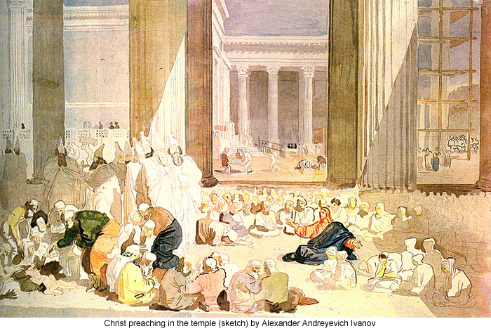 Christ preaching in the temple (sketch) by Alexander Andreyevich Ivanov