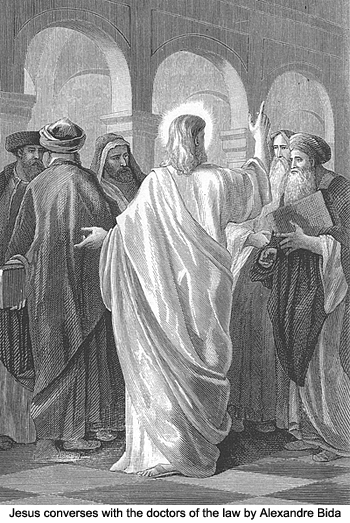 Jesus convereses with the doctors of the law by Alexandre Bida