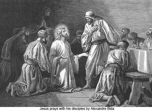 Jesus prays with his disciples by Alexandre Bida