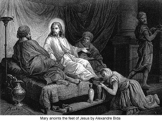 Mary anoints the feet of Jesus by Alexandre Bida