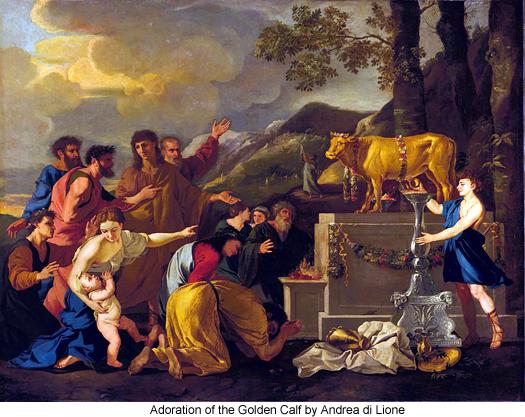 Adoration of the Golden Calf by Andrea di Lione