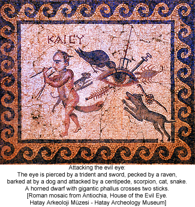 Attacking the evil eye. Roman mosaic from Antiochia, House of the Evil Eye. Hatay Arkeoloji Müzesi - Hatay Archeology Museum