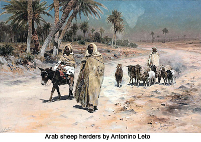 Arab sheep herders by Antonino Leto