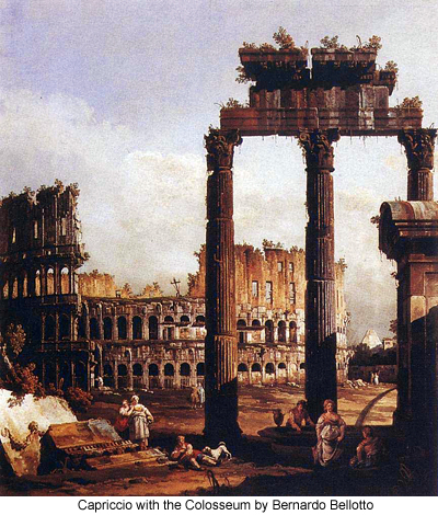 capriccio with the Colosseum by Bernardo Bellotto