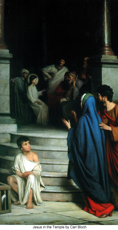 Christ teaching at the temple by Carl Bloch