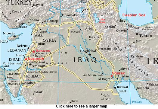 Modern-day Charax, Nazareth and Damascus