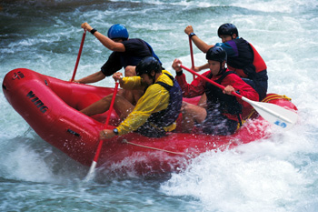 River rafting.Rowing together