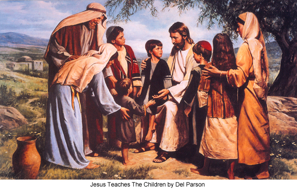 Jesus Teaches the Children by Del Parson