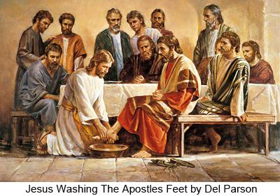 Jesus Washing The Apostles Feet by Del Parson