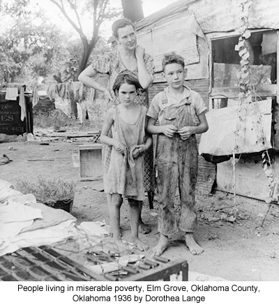 People Living in Miserable Poverty, Elm Grove, Oklahoma County, Oklahoma 1936 by Dorothea Lange