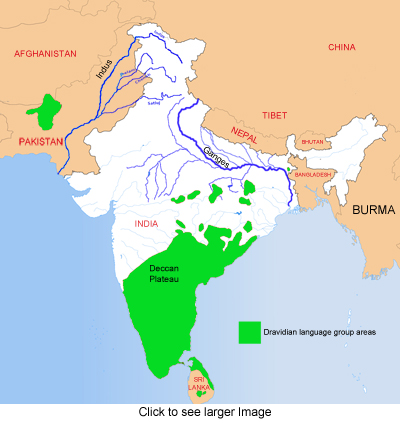 Dravidian language group areas