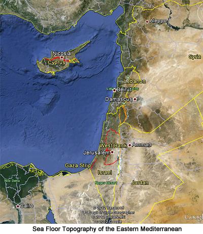 Sea Floor Topography of the Eastern Mediterranean