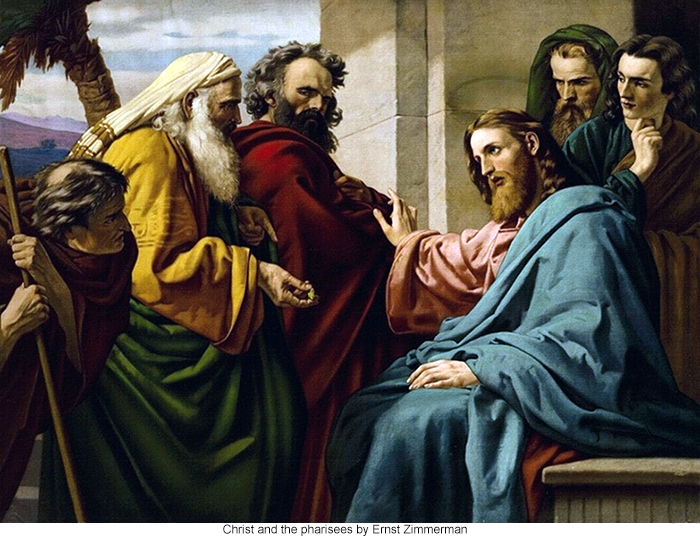 Christ and the pharisees by Ernst Zimmerman
