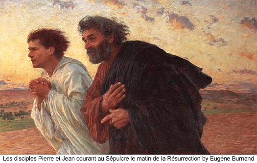 Les disciples Pierre et Jean courant au Sepulcre le matin de la Resurrection by Eugene Burnand