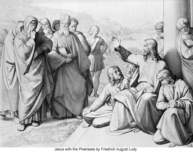 Jesus with the Pharisees by Friedrich August Ludy