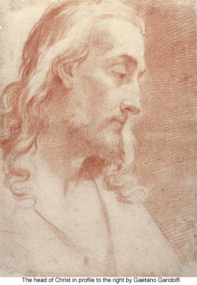 The head of Christ in profile to the right by Gaetano Gandolfi