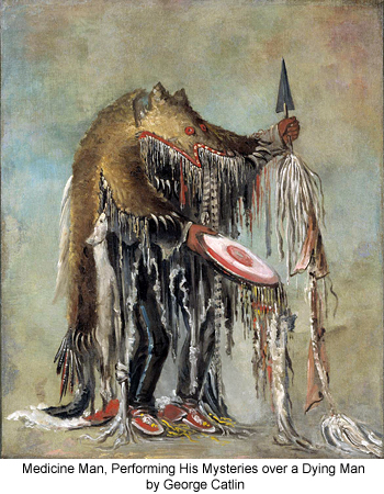 Medicine Man, Performing His Mysteries over a Dying Man by George Catlin