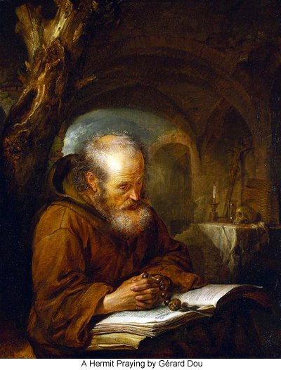 A Hermit Praying by Gérard Dou