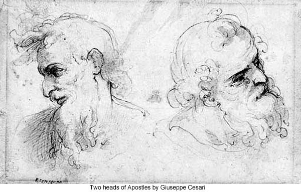 Two heads of Apostles by Giuseppe Cesari