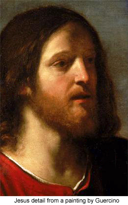 Jesus detail from a painting by Guercino