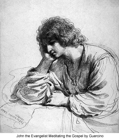 John the Evangelist Meditating by Guercino