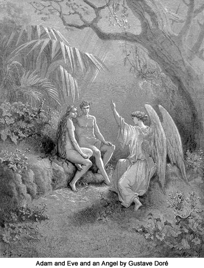 Adam and Eve and an Angel by Gustave Doré