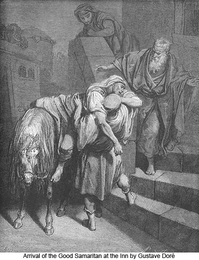 Arrival of the Good Samaritan at the Inn by Gustave Doré