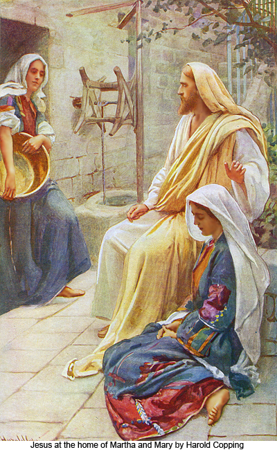 Jesus at the home of Marth and Mary by Harold Copping