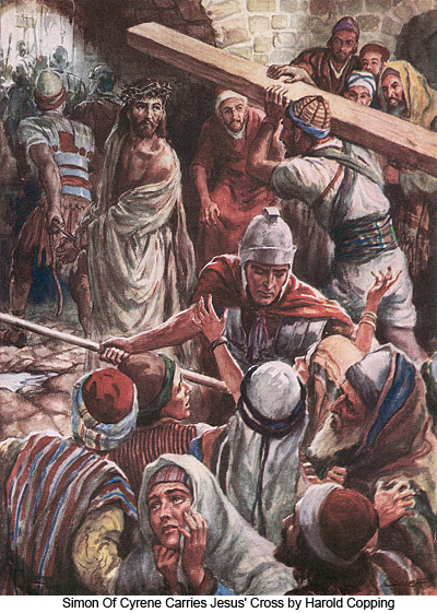 Simon of Cyrene Carries Jesus' Cross by Harold Copping