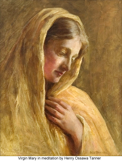 Virgin Mary in meditation by Henry Ossawa Tanner