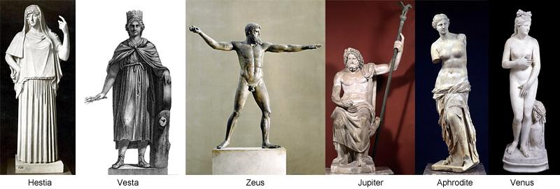 Hestia Vesta Zeus Jupiter Aphrodite Venus
