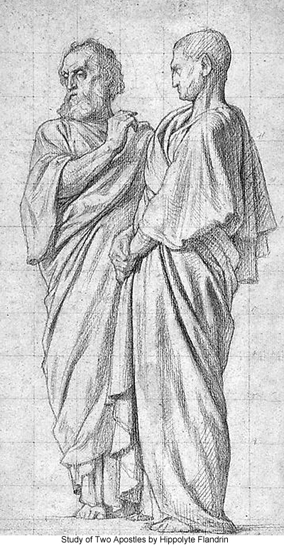 Study of Two Apostles by Hippolyte Flandrin