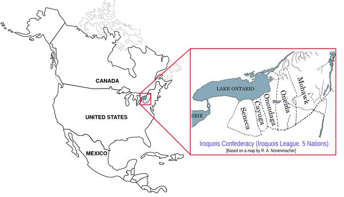 Iroquois Confederacy (Iroquois League. 5 Nations) Mohawk, Oneida, Onondaga, Cayuga, Seneca