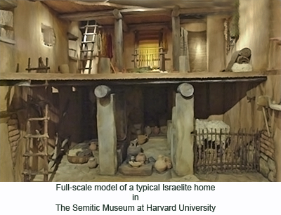 Full-scale model of a typical Israelite home in The Semetic Museum at Harvard University