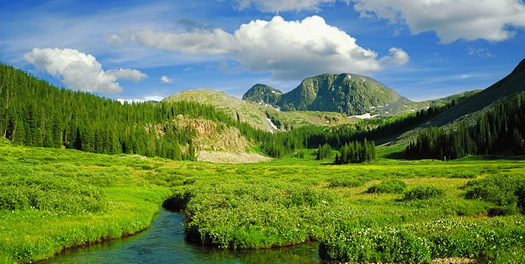 Small stream, large mountains
