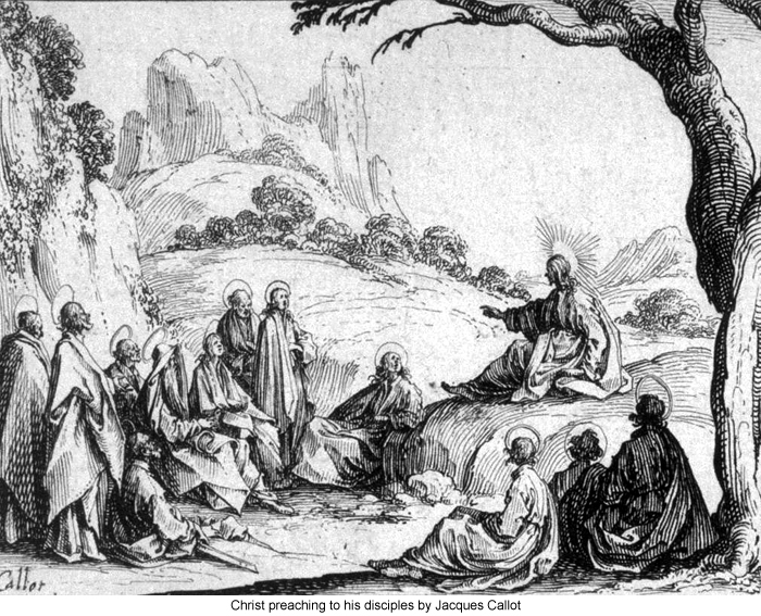 Christ preaching to his disciples BY Jacques Callot