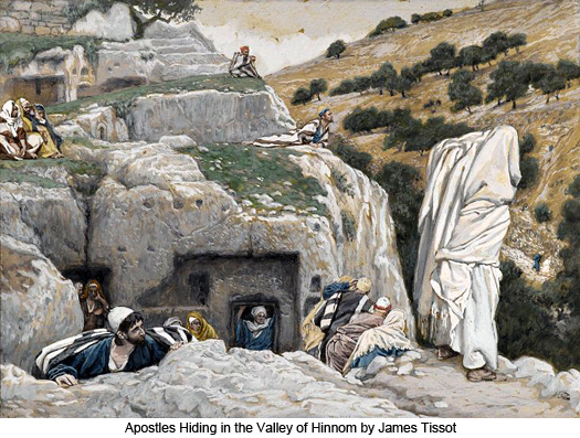 Apostles Hiding in the Valley of Hinnomby James Tissot