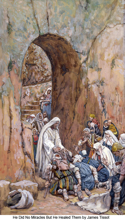 He Laid His Hands Upon the Sick by James Tissot