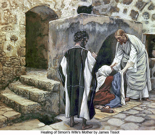 Healing of Simons Wifes Mother by James Tissot