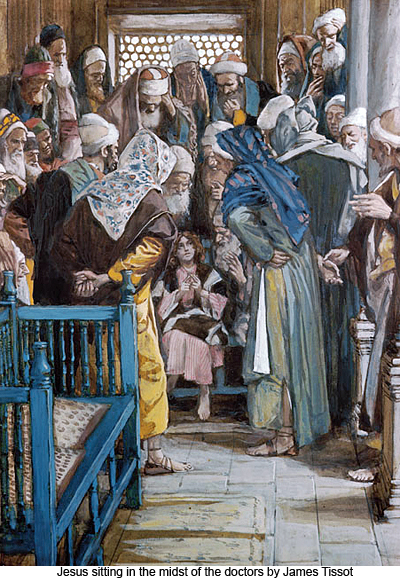 Jesus Sitting in the Midst of the Doctors by James Tissot