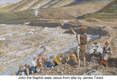 John the Baptist see Jesus from afar by James Tissot