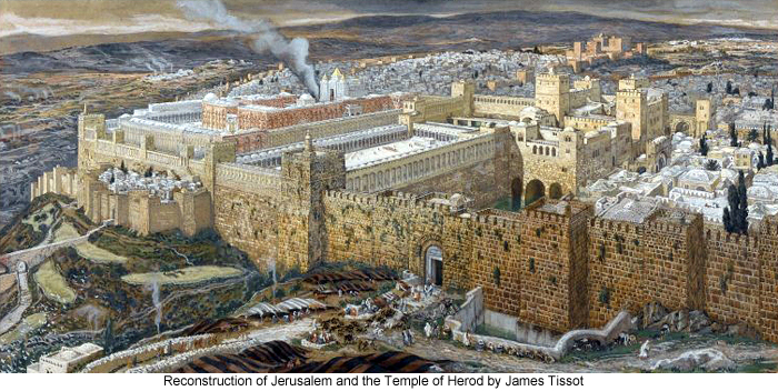 Reconstruction of Jerusalem and the Temple of Herod by James Tissot