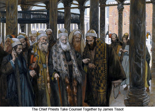 The Chief Priests take counsel together by James Tissot