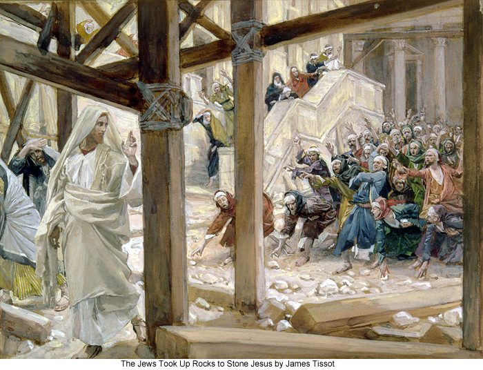 The Jews Took Up Rocks to Stone Jesus by James Tissot