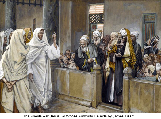 The Priests Ask Jesus By Whose Authority He Acts by James Tissot
