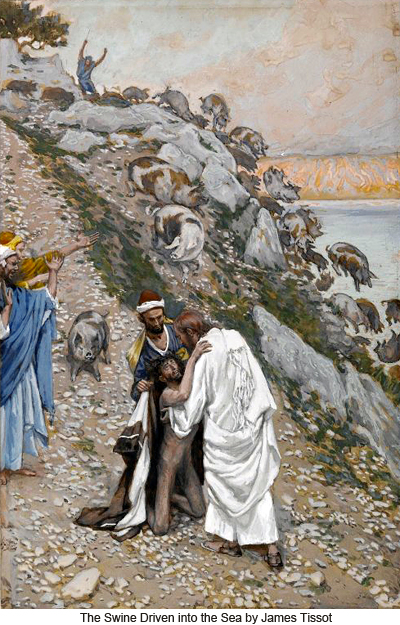 The swine driven into the sea by James Tissot