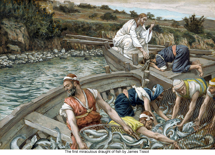 The first miraculous draught of fish by James Tissot