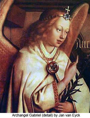 Archangel Gabriel (detail) by Jan van Eyck
