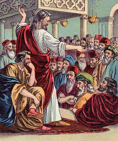 Jesus Preaching in a synagogue