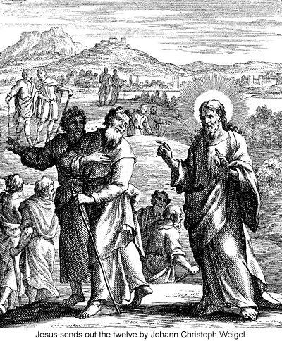 Jesus sends out the twelve by Johann Christoph Weigel